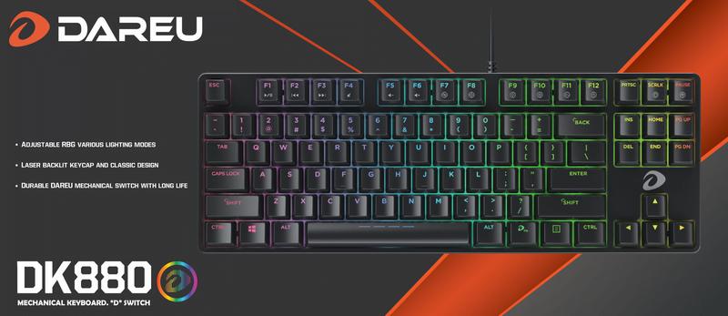Top bàn phím cơ giá rẻ dưới 1 triệu Dareu DK880 RGB Red Switch