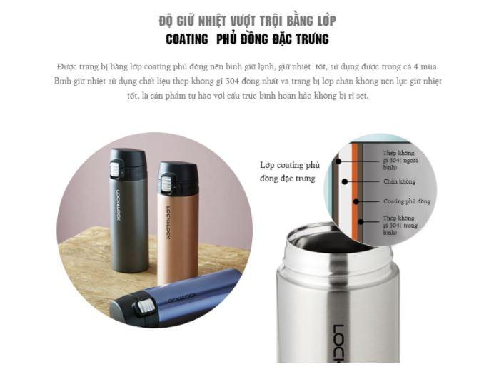 Thiết kế 4 lớp giúp tăng khả năng giữ nhiệt, giữ nhiệt cho bình chứa hãng Lock&Lock