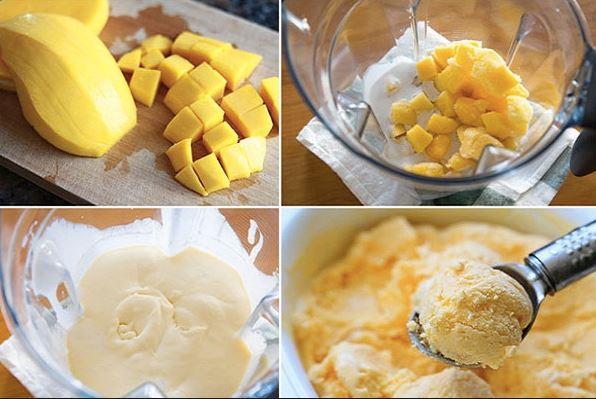 cách làm kem xoài sữa chua đơn giản