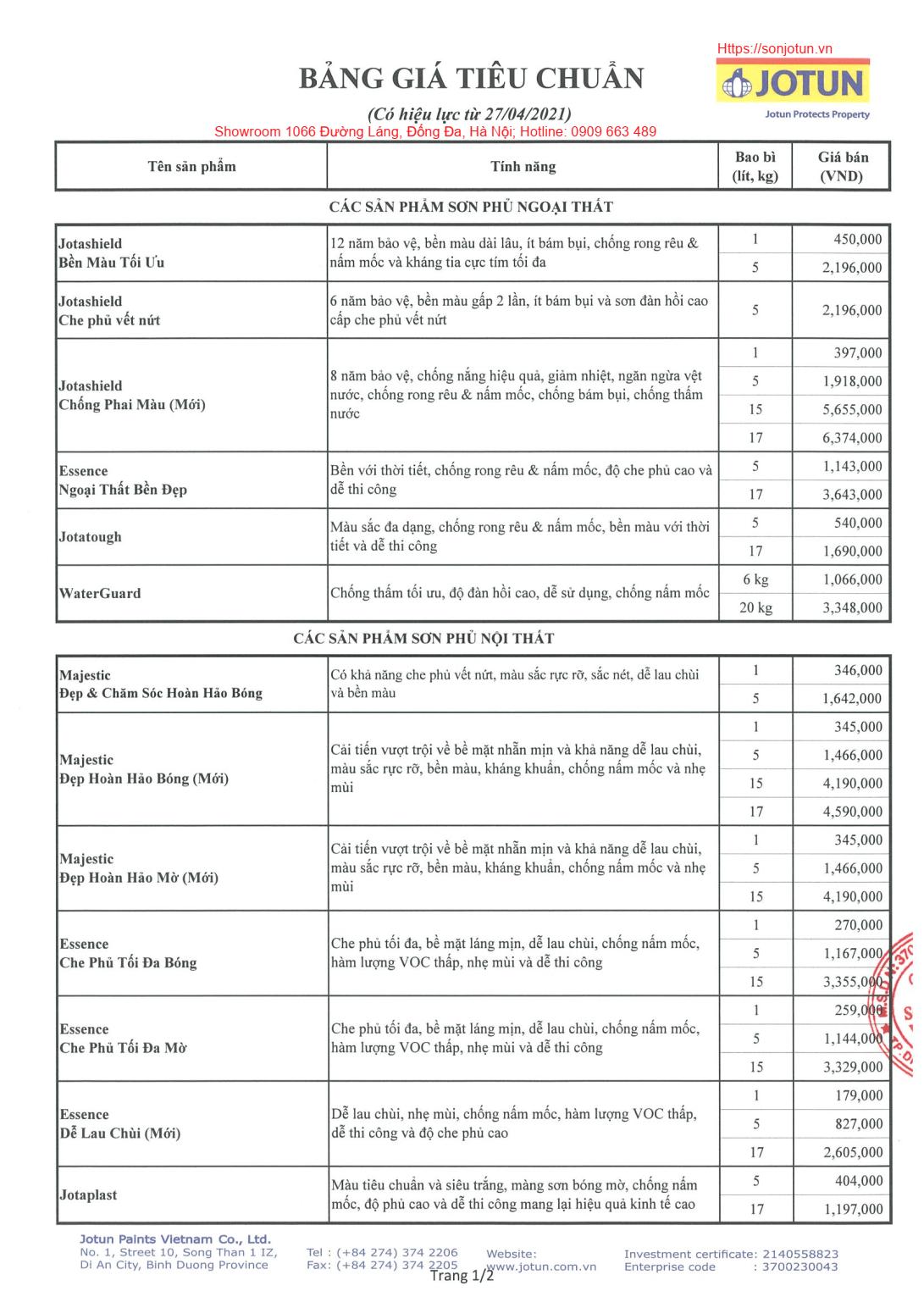 bảng giá sơn Jotun mới nhất 2021, bảng giá gồm 2 trang.